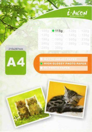 Fotópapír , tintasugaras nyomtatókhoz, A4-es, FÉNYES felületű, gyorsan száradó, 115g/m², 100lap/csomag