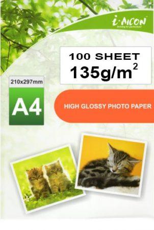 Fotópapír , tintasugaras nyomtatókhoz, A4-es, FÉNYES felületű, gyorsan száradó, 135g/m², 100lap/csomag