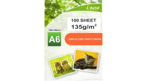 Fotópapír, A6-os (~105*148mm),  tintasugaras nyomtatókhoz, fényes felületű, gyorsan száradó, 135g/m², 100lap/csomag