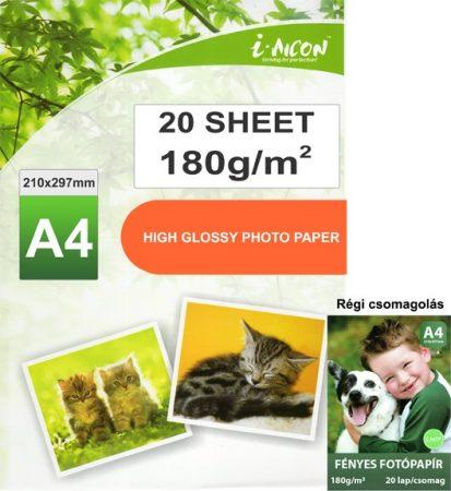 Fotópapír tintasugaras nyomtatókhoz, A4-es, FÉNYES felületű, gyorsan száradó, 180g/m², 20lap/csomag