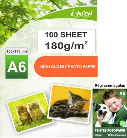 Fotópapír tintasugaras nyomtatókhoz, A6-os (~102*152mm 4R), fényes felületű, gyorsan száradó, 180g/m², 100lap/csomag (közepesen vastag, közepes igénybevételű fotókhoz)