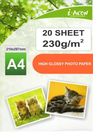 Fotópapír tintasugaras nyomtatókhoz, A4-es, FÉNYES felületű, gyorsan száradó, 230g/m², 20lap/csomag