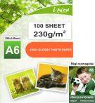 Fotópapír tintasugaras nyomtatókhoz, A6-os (~102*152mm), fényes felületű, gyorsan száradó, 230g/m², 100 lap/csomag (vastag, gyakori fizikai igénybe vételű fotókhoz)