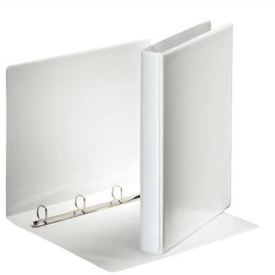 Gyűrűs könyv A4, 4db D alakú gyűrű, 35 mm széles gerinc, 20mm gyűrű, ESSELTE, fehér, előlap-, gerincén kívül zsebes