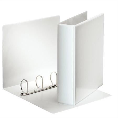 Gyűrűs könyv A4, 4db D alakú gyűrű, 75 mm széles gerinc, 50 mm gyűrű, ESSELTE, fehér, előlap-, gerinc kívül zsebes