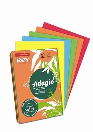 """Intenzív mix, A4, 80 g, Adagio """"REY""""  színes másoló-, nyomtatópapír (5x100lap, intenzív szín)"""