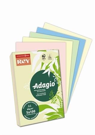 """Pasztell mix 5 színű, A4, 80 g, Adagio """"REY""""  színes másoló-, nyomtatópapír (5x100lap, pasztell)"""