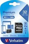 "Memóriakártya, microSDHC, 32GB, CL10/U1, 45/10 MB/s, adapter, VERBATIM, ""Premium"""