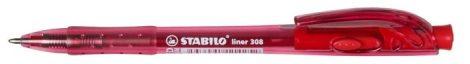 STABILO Liner 308  piros golyóstoll, piros tolltest