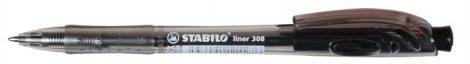 STABILO 'Liner 308' fekete golyóstoll, fekete tolltest