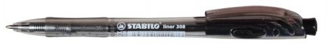STABILO Liner 308 fekete golyóstoll, fekete tolltest