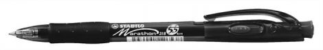 "Golyóstoll, 0,38 mm, nyomógombos, STABILO ""Marathon"", fekete"