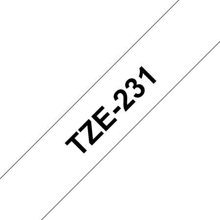 Feliratozógép szalag, 12 mm x 8 m, BROTHER, fehér-fekete (TZE-231)