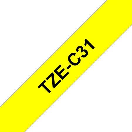 Feliratozógép szalag, 12 mm x 5 m, BROTHER, sárga-fekete (Tze-C31)