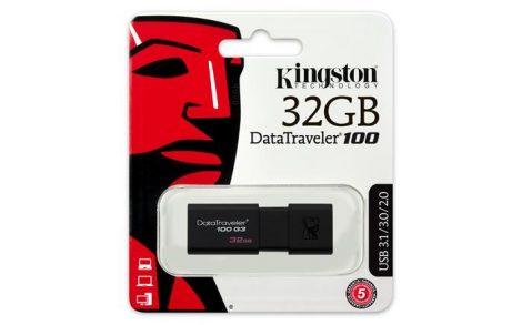"""Pendrive, 32GB, USB 3.0, KINGSTON """"DT100 G3"""", fekete ►40/10MB/sec"""