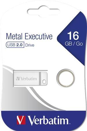 "Pendrive, 16GB, USB 2.0, VERBATIM ""Executive Metal"", ezüst"