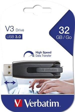 """Pendrive, 32GB, USB 3.0, 60/12MB/sec, VERBATIM """"V3"""", fekete-szürke 49173"""