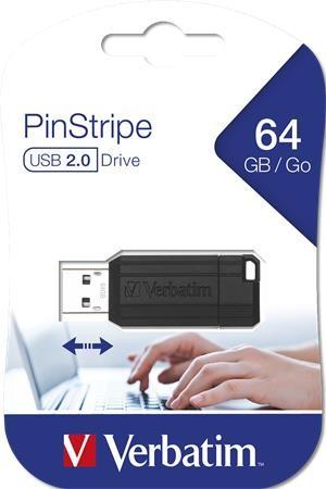 """Pendrive, 64GB, USB 2.0, 10/4MB/sec, VERBATIM """"PinStripe"""", fekete"""