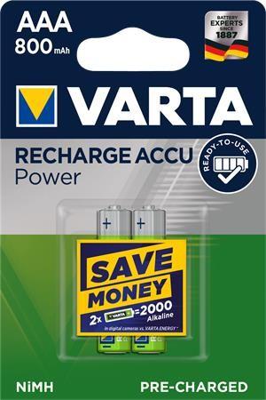 """Tölthető elem, AAA mikro, 2x800 mAh, előtöltött, VARTA """"Power"""""""