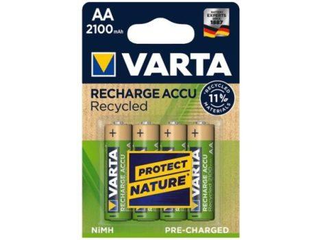 Tölthető elem, AA, ceruza, újrahasznosított, 4x2100 mAh, VARTA