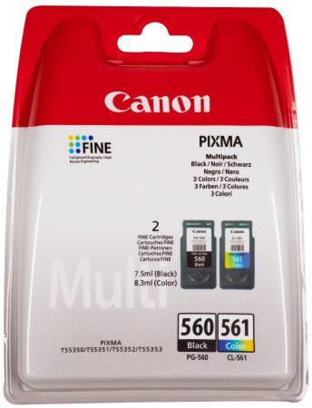 Canon® PG-560/CL-561 eredeti (fekete+színes) tintapatron multipakk, ~180/180 oldal (pg560cl561)