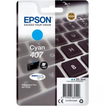 Epson Nr.407 eredeti cián tintapatron (C13T07U240) 20,3ml (≈1900 oldal)