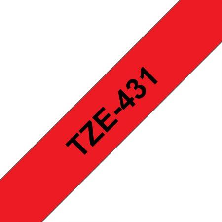 Feliratozógép szalag, 12 mm x 8 m, BROTHER, piros-fekete (TZE-431)