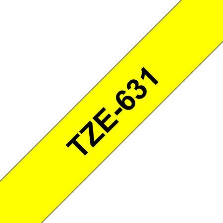 Feliratozógép szalag, 12 mm x 8 m, BROTHER, sárga-fekete (TZE-631)