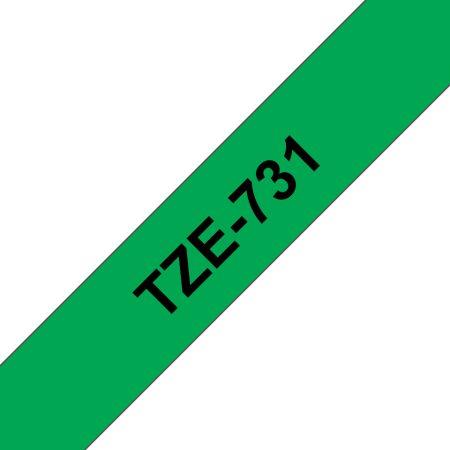 Feliratozógép szalag, 12 mm x 8 m, BROTHER, zöld-fekete (TZE-731)
