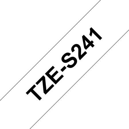Feliratozógép szalag, 18 mm x 8 m, BROTHER, fehér-fekete, erős tapadású (TZE-S241)